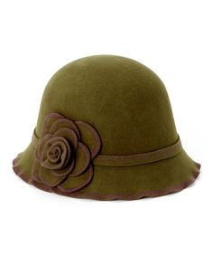 Jeanne Simmons Accessories Olive Scalloped Rose Stitched Cloche by Jeanne Simmons Accessories #zulily #zulilyfinds