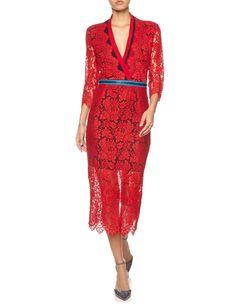 Red Lace Zip Detail Dress | Preen by Thornton Bregazzi | Avenue32
