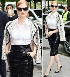 A linda Jessica Chastain para o desfile da Chanel, em Paris.♥💫 #fashion #chanel #style #jessicachastain