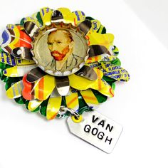 Recycled Jewelry Van Gogh Sunflower Brooch by wearwolf on Etsy, $42.00