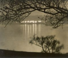 Karl Struss   Riverside Drive, New York City. Circa 1910. Vintage warm-toned, ferrotyped gelatin silver print. 19,3 x 22,5 cm. Signed by the photographer in pencil and photographer's stamp, as well as annotated in pencil on the verso.