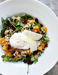 Butternut Squash & Barley Salad with Poached Egg