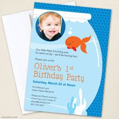 Goldfish party - Set of 15 custom birthday invitations - Printable file also available. $30.00, via Etsy.