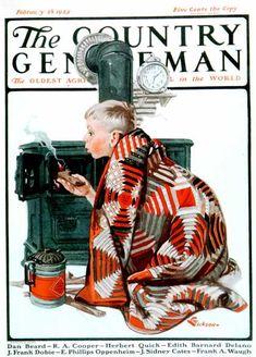 Country Gentleman - 1925-02-28: Lighting the Wood Stove (E. M. Jackson)