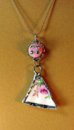 Recycled China Pendant Necklace Flowers by BeadazzledBySharon