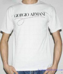 T-shirt à Manches Courtes Giorgio Armani Homme Pas Cher Blanc