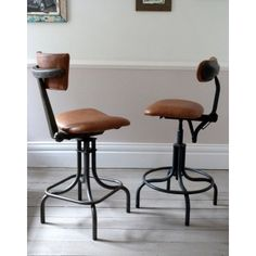 Pair of 1950s Industrial Leather Counter Stools / Bar Stools