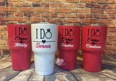 Bride and Bridesmaids, Bachelorette Party, I Do Crew, 30oz powder coated custom double walled tumbler, Comparable to yeti, ozark, sic by 5MagnoliaLane on Etsy https://www.etsy.com/listing/456007964/bride-and-bridesmaids-bachelorette-party