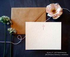 Letterpress Christian cards / note cards for writing notes and greetings. A light pink cross is letterpress printed on ultra luxe 110 lb. cover stock. Includes kraft envelopes for mailing. Buy a set for yourself or as a gift set for someone special. Makes a great high-end, handcrafted, multipurpose gift!