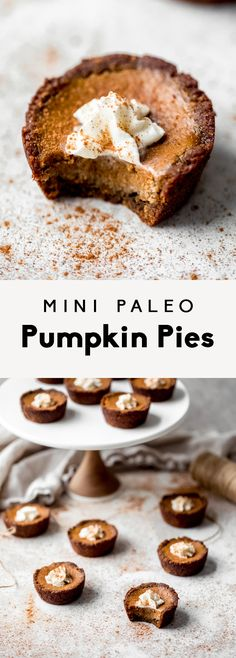 Adorable paleo healthy mini pumpkin pies with gingerbread cookie crust. These gluten free and dairy free mini pumpkin pies are naturally sweetened, super cute and seriously delicious! Perfect for the holiday season. Paleo Pumpkin Pie, Mini Pumpkin Pies, Healthy Pumpkin Pies, Mini Pumpkins, Pumpkin Recipes, Pumpkin Spice, Strawberry Oatmeal Bars, Blueberry Crumble Bars, Lemon Desserts
