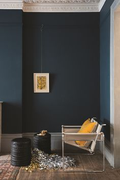 Hague Blue walls in Estate Emulsion and Manor House Gray woodwork