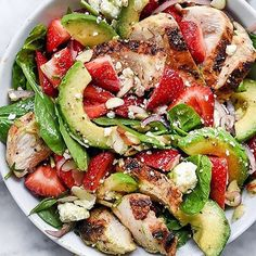 Strawberry Avocado Spinach Salad with Chicken Recipe by: @foodiecrush🍓@foodiecrush . This full recipe, as well as many more like it, can be found on @foodiecrush's blog. Direct link in bio! . Serves: 2 Ingredients: ¼ cup extra virgin olive oil 1 tablespoon golden balsamic vinegar 1 teaspoon sugar 1 tablespoon roughly chopped fresh tarragon ¼ teaspoon kosher salt ¼ teaspoon freshly ground black pepper 2 boneless, skinless chicken breasts 6 cups loosely packed fresh spinach 6-8 large…