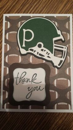 Football Thank you card - made with Cricut Sports Mania cartridge.