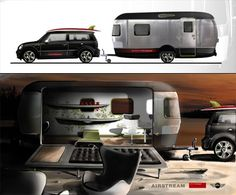 Mini Cooper Clubman met Airstream camper. I saw this biz a long time ago. Still my favorite set up if I could pull it off.