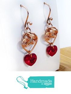 Cherry Red Valentine's Day Hearts - Crimson Swarovski Crystal & Hammered Bright Copper Wire Wrapped Dangle Earrings - Wire Wrapped Handmade Heart Drops with Dangles - OOAK Gift for Women from Rhonda Chase Design https://www.amazon.com/dp/B01MT6M6L3/ref=hnd_sw_r_pi_dp_em-JybVQN9P87 #handmadeatamazon