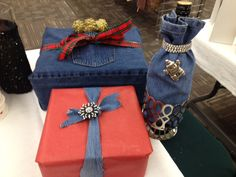 Denim 3 ways: wrap a package, tie on a bow, slip a leg over a wine bottle #green #Christmas #wrap