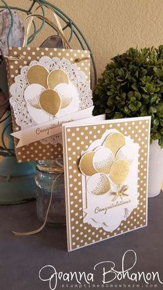 Balloon Celebrations | Stampin' Up! | Wedding card and gift bag | by Jeanna Bohanon