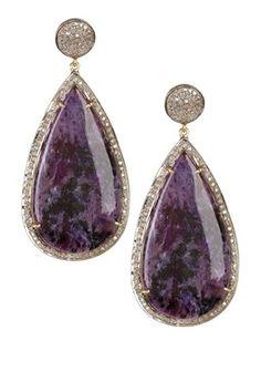 Chowrite & White Diamond Teardrop Earrings