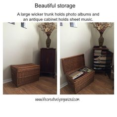 Here are some beautiful ways to add more storage in your home using re-purposed items, like a wicker trunk and antique cabinet. Living Room Storage, Storage Spaces, Wicker Trunk, Plastic Bins, Antique Cabinets, Declutter, Repurposed, Family Room, Trunks