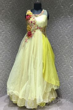 Mangaldeep Yellow Georgette Embroidered Gown #Mangaldeep, #Yellow, #Georgette