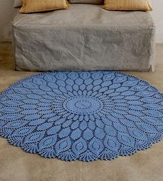 Big crochet doily rug pattern with elongated doily motif. More Great Looks Like This