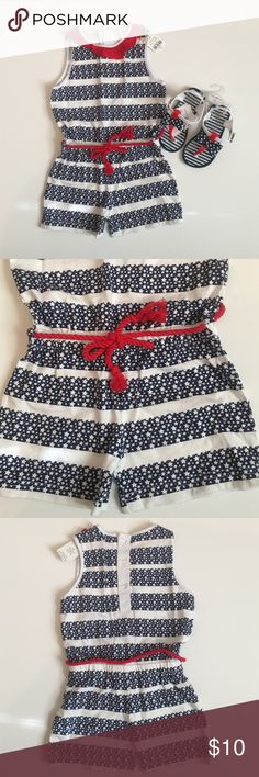 Star Print Romper with Red Details This gorgeous romper is perfect for Fourth of July celebrations! This listing is for the romper only- the shoes can be found in another listing. Never worn, still has tags on. It was purchased as a gift but didn't fit my daughter. 100% cotton. Bottoms Jumpsuits & Rompers