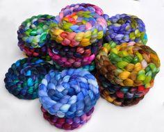 Hand dyed roving - Superwash Merino / Nylon / Alpaca / SIlk sock yarn wool