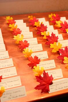 Autumn Themed Wedding Place Cards   #NJ #Wedding #Photography   #UntouchableEntertainment