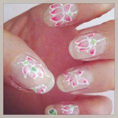 Lotus nail art by Sabrina Guerinet