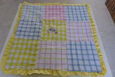HANDMADE NEW QUILTED BABY BLANKET MULTI COLOR COTTON FABRICS UNISEX 39X39 INCH