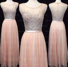 blush pink prom dresses, rhinestone prom dress, chiffon prom dresses, long prom…