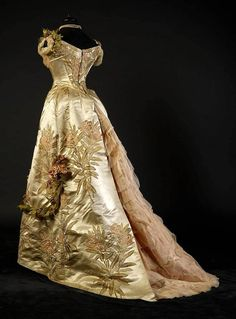 """fripperiesandfobs: """" Worth evening dress ca. 1897 From the collection of…"""
