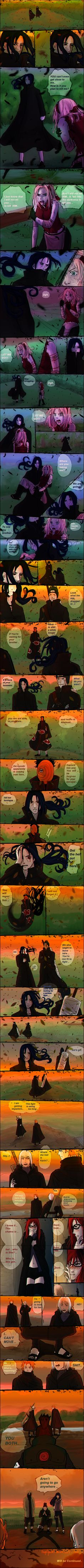 the characters are from naruto manga this is my first SS comic, the story is 100% random the coloring and the lineart looks weird because i did them fast.. Sorry for my english.. and i am not narut...