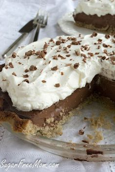 SugarFree Chocolate Cream Pie made lower in carbs, and with a nut free and sugar free pie crust! Healthier but decadent dessert for the holidays!