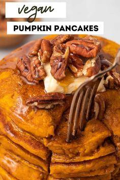 Vegan Pancake Recipes, Breakfast Recipes, Vegan Recipes, Recipes Dinner, Easy Vegan Breakfast, Snacks Recipes, Breakfast Ideas, Fall Recipes, Canned Pumpkin Recipes
