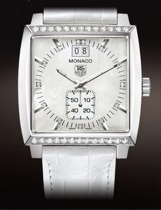 Tag Heuer Monaco Diamond Dial and Diamond Bezel 37MM White Mother-of-Pearl Leather Bracelet  tagheuer.com