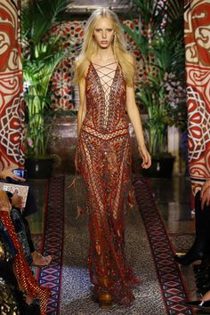 Roberto Cavalli | Ready-to-Wear Spring 2017 | Look 54 - boho chic lace up front patterned gown #runwaystyle...x