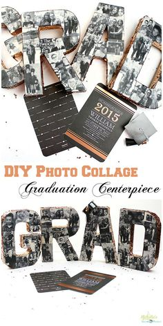 DIY Photo Collage Tutorial - Perfect centerpiece for Graduation parties and celebrations!