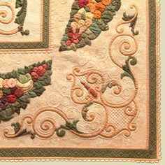 """Flourish-corner detail of """"Flourish on the Vine,""""  a quilt by Kathy Kwylie.  http://www.kathykwylie.com/blog/2013/05/canadian-quilters-association-best-of-show/"""