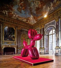 #JeffKoons Magenta Balloon Dog, 1994-2000. High chromium stainless steel with transparent color coating 121 x 143 x 45 inches, from Jeff Koons in Versailles Exhibition. One of of 5 unique versions by #JeffKoons in five colors: Blue, Magenta, Yellow, Orange, Red.