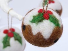 Your place to buy and sell all things handmade Felt Christmas Decorations, Little Christmas Trees, Felt Christmas Ornaments, Needle Felted Ornaments, Christmas Needle Felting, Felt Crafts, Christmas Crafts, Christmas Pudding, Felt Ball