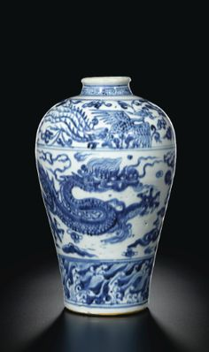 An unusual blue and white 'dragon' meiping vase. Porcelain Vase, White Porcelain, Blue And White China, White Dragon, Chinese Ceramics, Objet D'art, Antique China, Chinese Antiques, Chinese Art