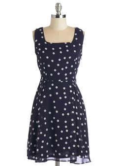 Aglow Must Go On Dress. No matter what fun the evening may bring, your style will shine in this polka-dotted navy dress! #blue #modcloth