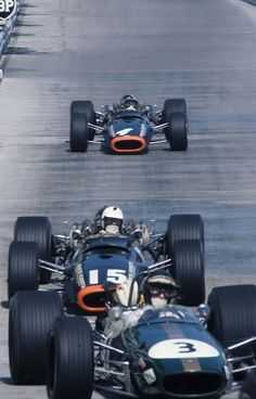 Jochen Rindt (Brabham BT24) , Dick Attwood (BRM P123) and Pedro Rodriguez (BRM P133).Monaco 1968.