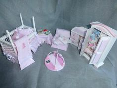 DOLLS HOUSE MINIATURE 6 Piece BABY NURSERY SET
