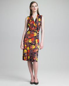 Veronica Printed Draped Dress by Erdem at Neiman Marcus.