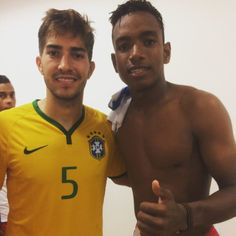 """"""" Lucas Silva with the Dominican player Alexander Vidal after the friendly match between Brazil Olympic NT and Dominican Republic NT 