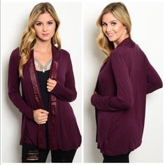 Wine Color Open Cardi Open cardi in wine. Velvet detailing vertically  along the front. Made of a soft blend Sweaters Cardigans