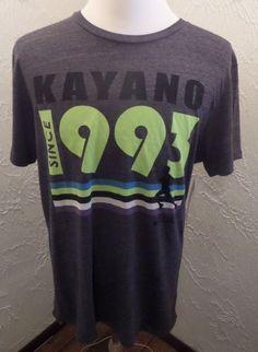 NWT ASICS Kayano 1993 T-Shirt Sz L Electric Green Charcoal Running Elite MSR $36 #ASICS #GraphicTee