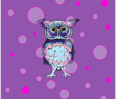 Owl Purple Bubbles